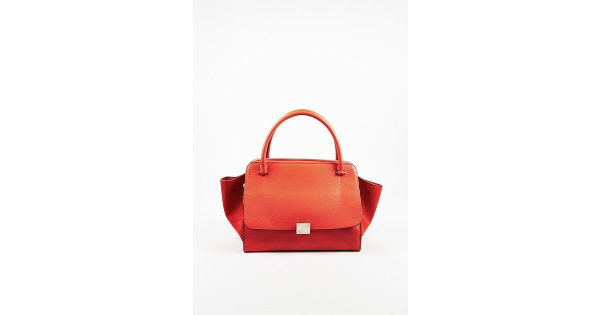 4b76ad59aede Lyst - Céline Red Drummed Leather