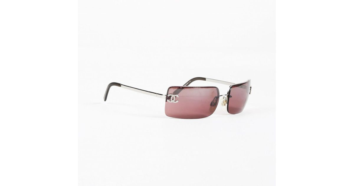10a12ff3e928 Lyst - Chanel Pink Crystal  cc  Rectangular Frameless Sunglasses in Pink