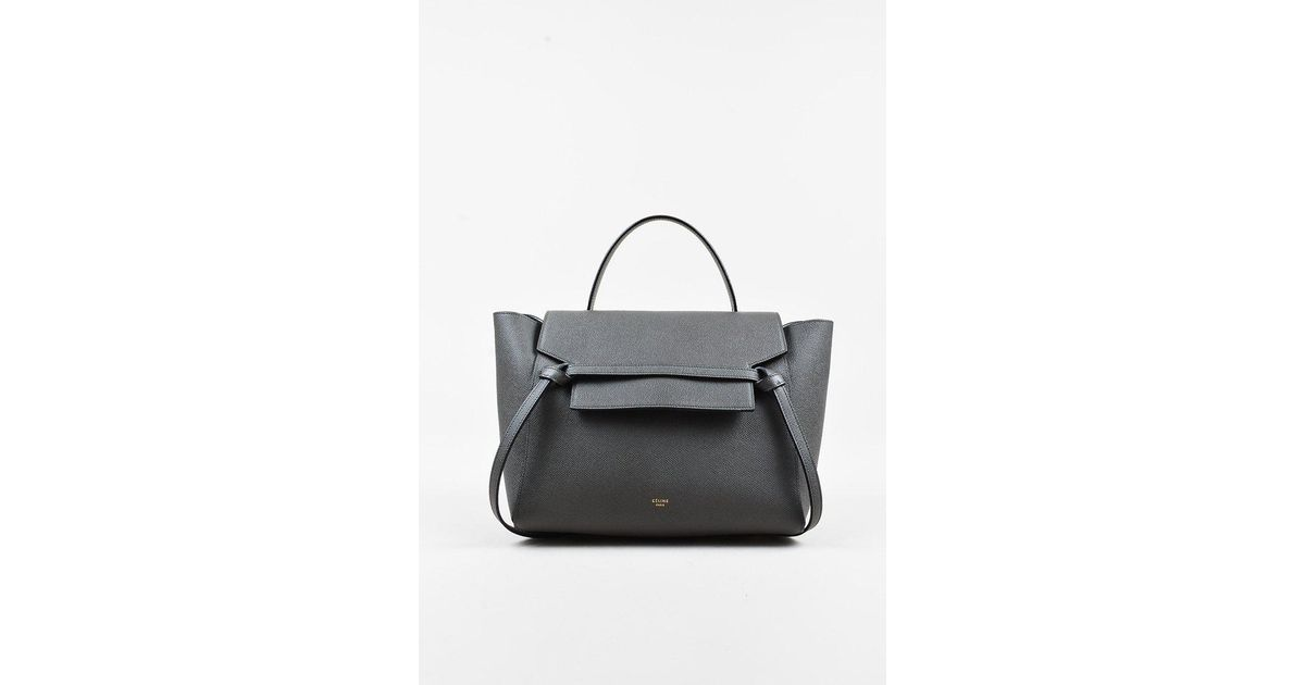 Lyst - Céline Gray Grained Calfskin Leather