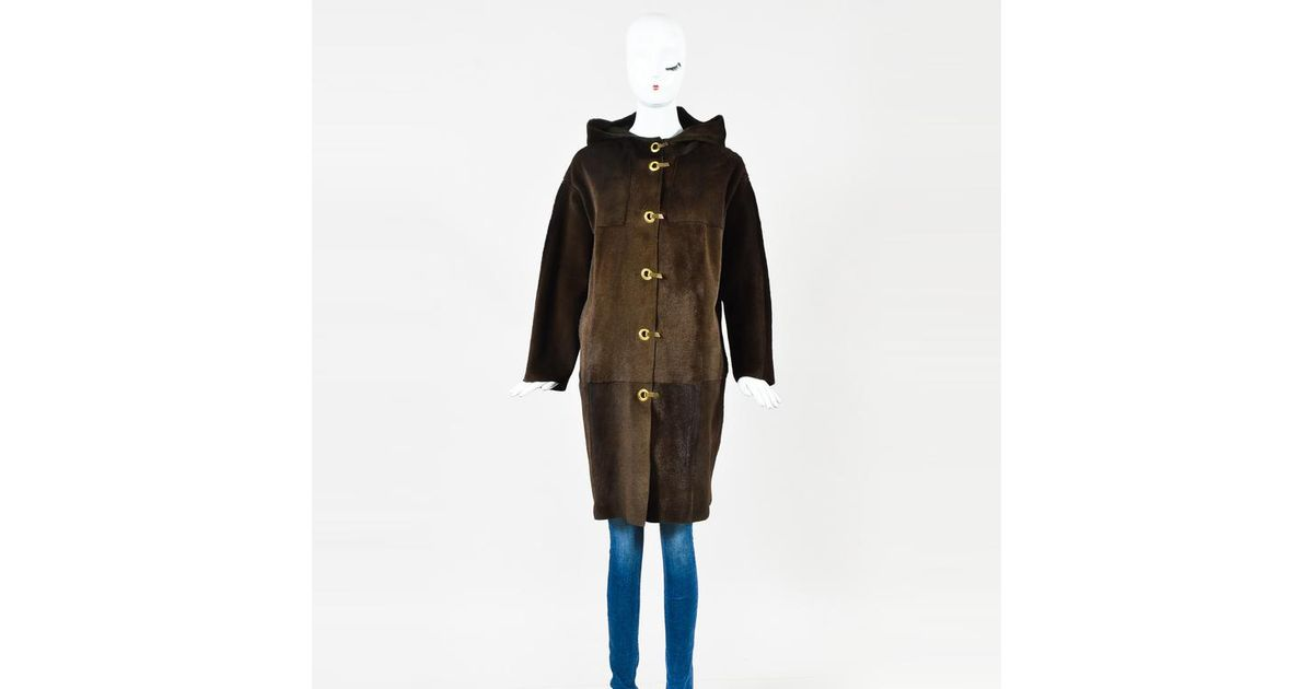 Lyst - Lanvin Brown Pony Hair   Suede Hooded Toggle Coat in Brown b02e499232d