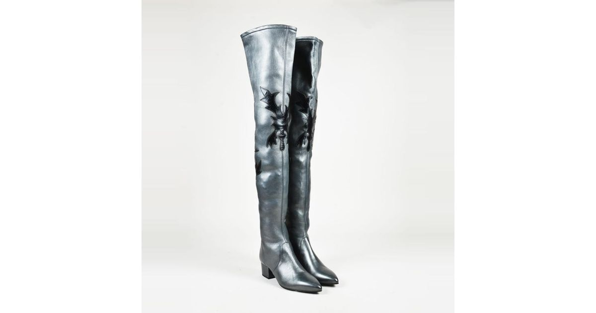 cd1a21cdb08 Lyst - Chanel Black Leather Over The Knee Western Boots in Black