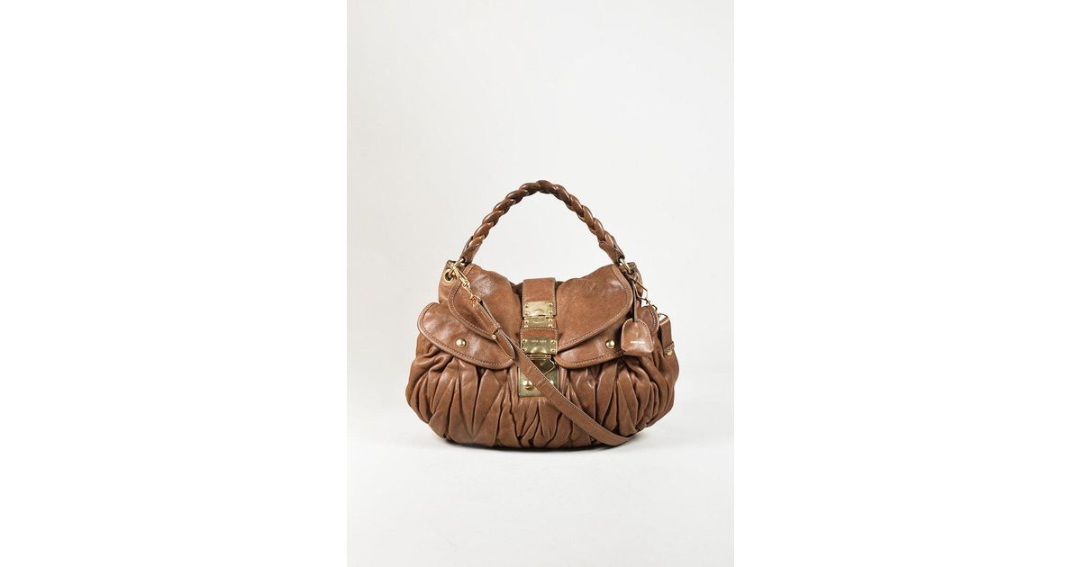 fc9566df4 Lyst - Miu Miu Brown Distressed Leather Gold Tone Shoulder Bag in Brown