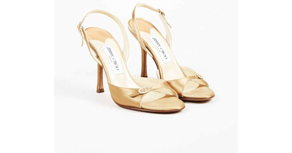 799137b1099334 Lyst - Jimmy Choo Gold Satin Crystal Buckle Slingback Sandals in Metallic