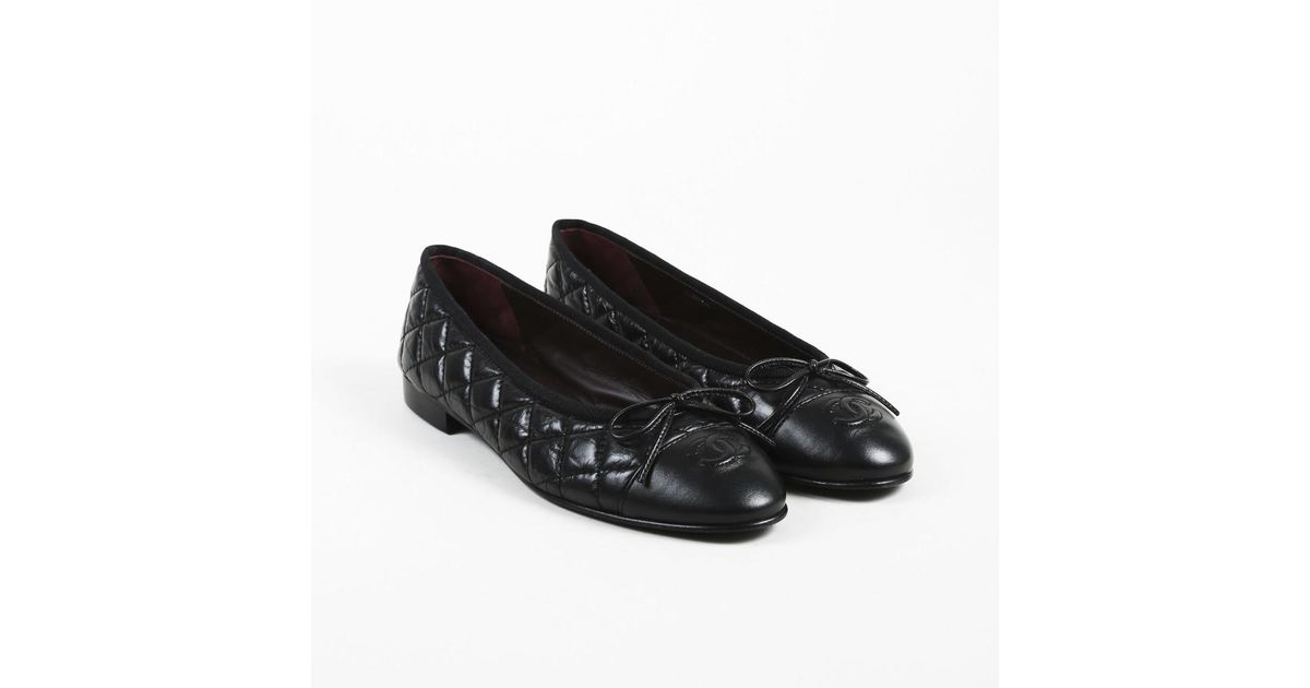 68dfd36f44e Lyst Chanel Black Aged Calfskin Lambskin Quilted Ballet Flats In