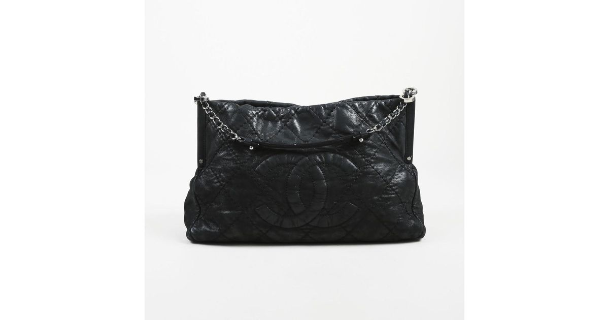 2f1d362915d5 Chanel Black Quilted Iridescent Calfskin Leather