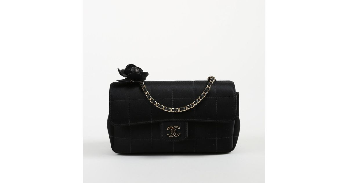 575ac636e71c Chanel Black Satin & Leather Quilted Camellia Flower Crossbody Flap Bag in  Black - Lyst