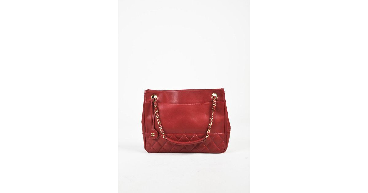 4cad50955a51 Lyst - Chanel Vintage Red Quilted Lambskin Leather Gold Tone Shoulder Bag  in Red