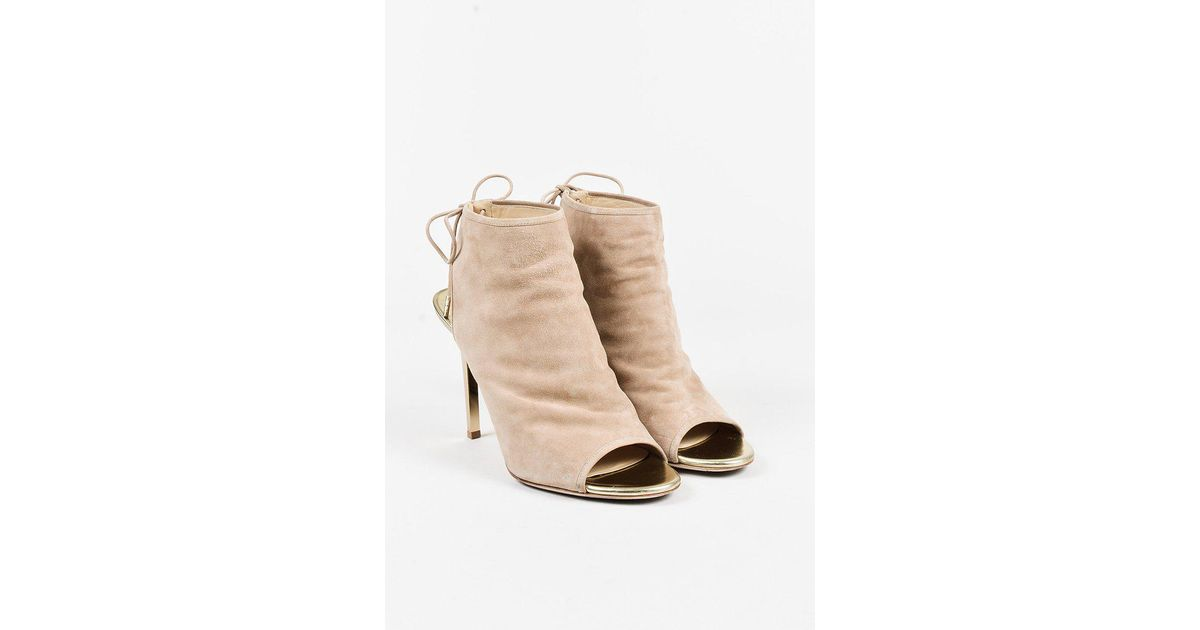 lyst jimmy choo nude suede champagne mirrored leather froze rh lyst com