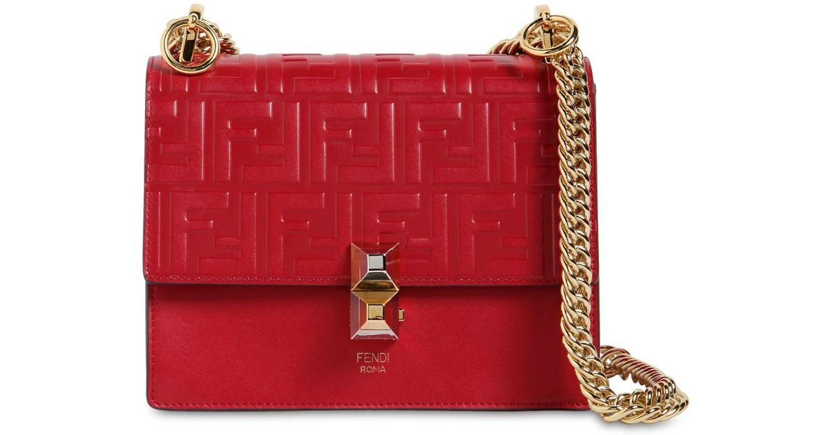 bc3751107d4d Fendi Small Kan I Logo Embossed Leather Bag in Red - Lyst