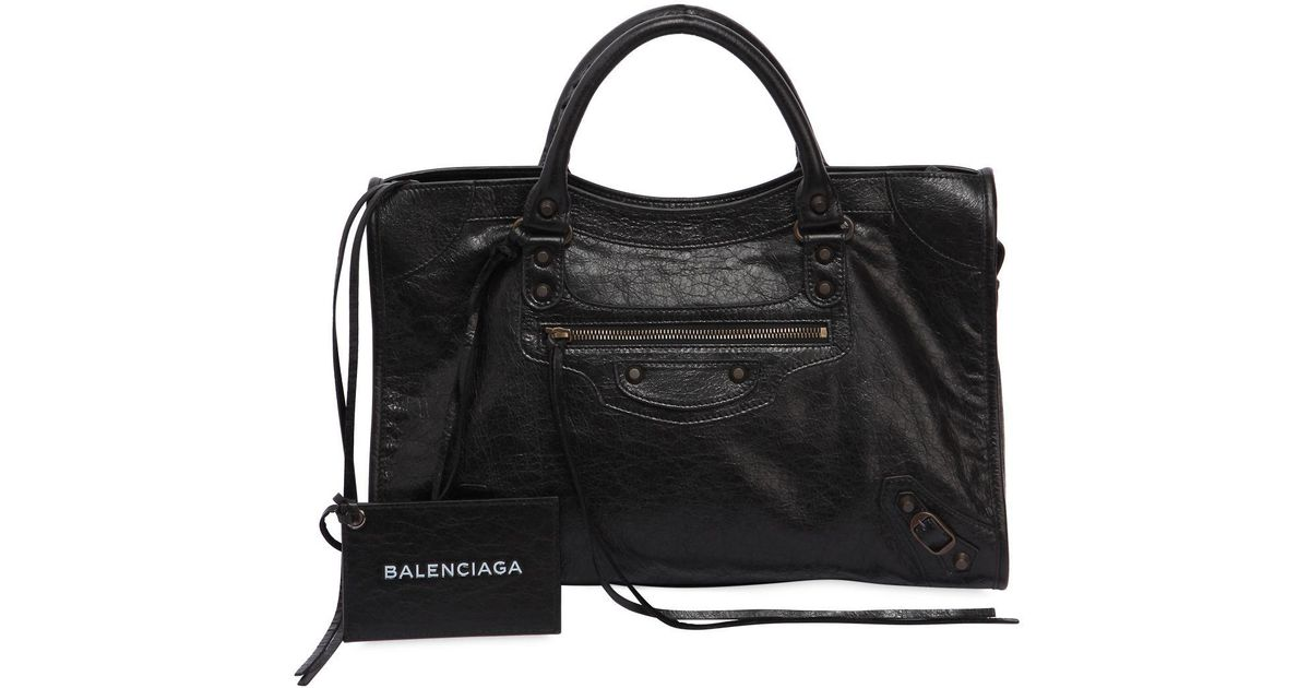 e6c4faf8ee8 Balenciaga Classic City Logo Strap Leather Bag in Black - Lyst