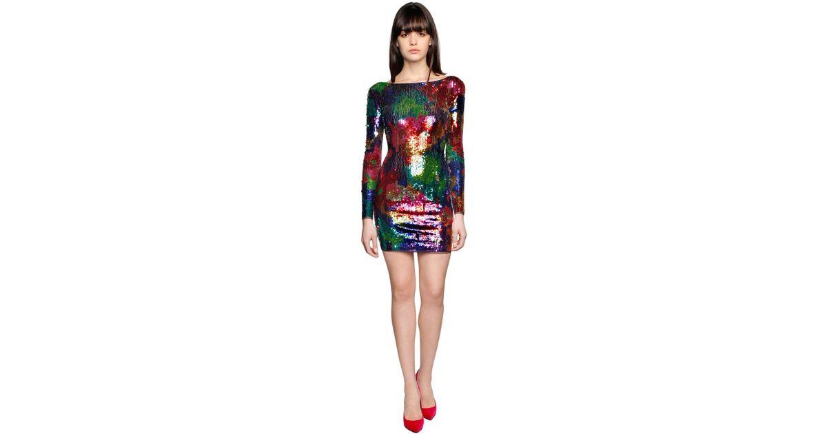 8d2a48f2b104 Amen Sequined Mesh Mini Dress - Lyst