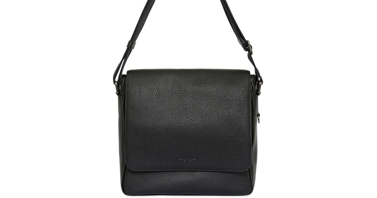 2aadcb56c ... clearance coach pebbled leather messenger bag in black for men lyst  19fbc 13a87