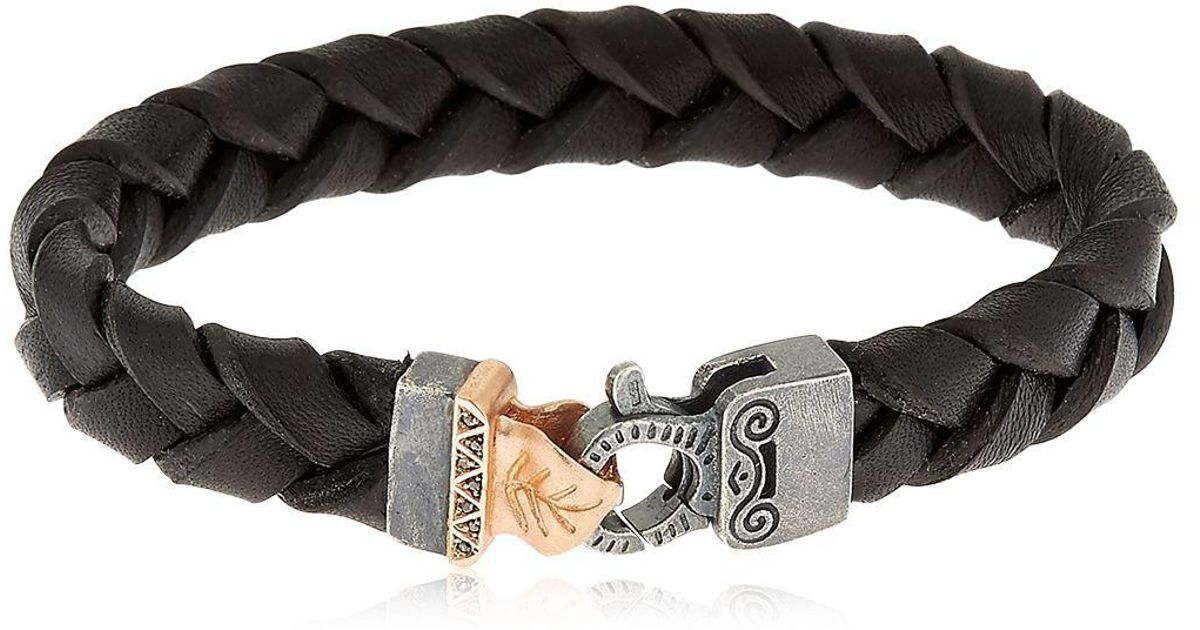 Marco Dal Maso Mens Thin Braided Leather Bracelet, Black