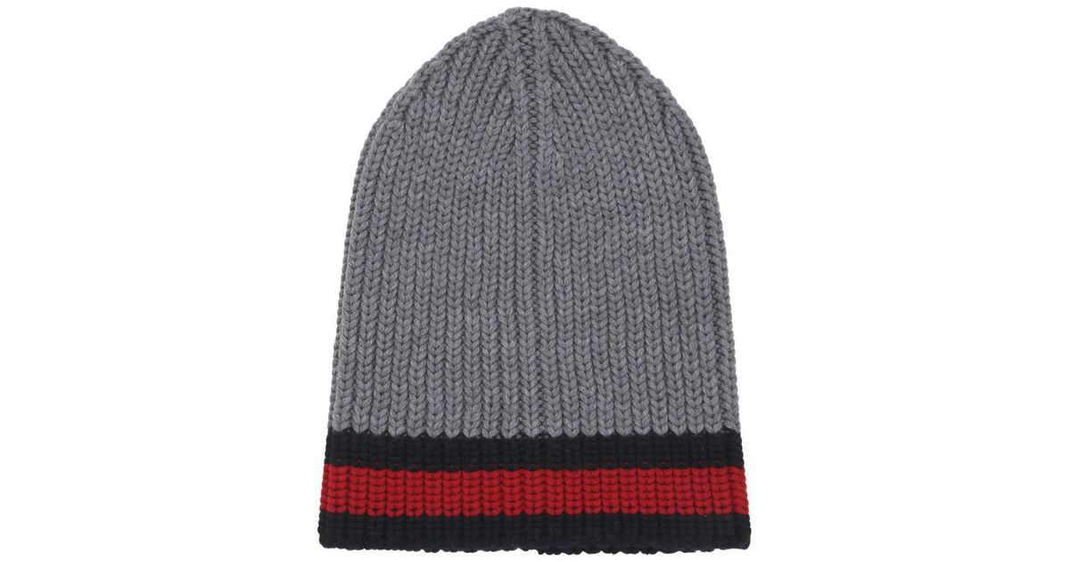 Gucci Web Wool Cable Knit Beanie Hat in Gray - Lyst a6f09416b33