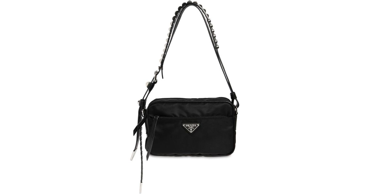 32f4fbffd2dc Prada Nylon Camera Bag W/ Studded Strap in Black - Save 13% - Lyst