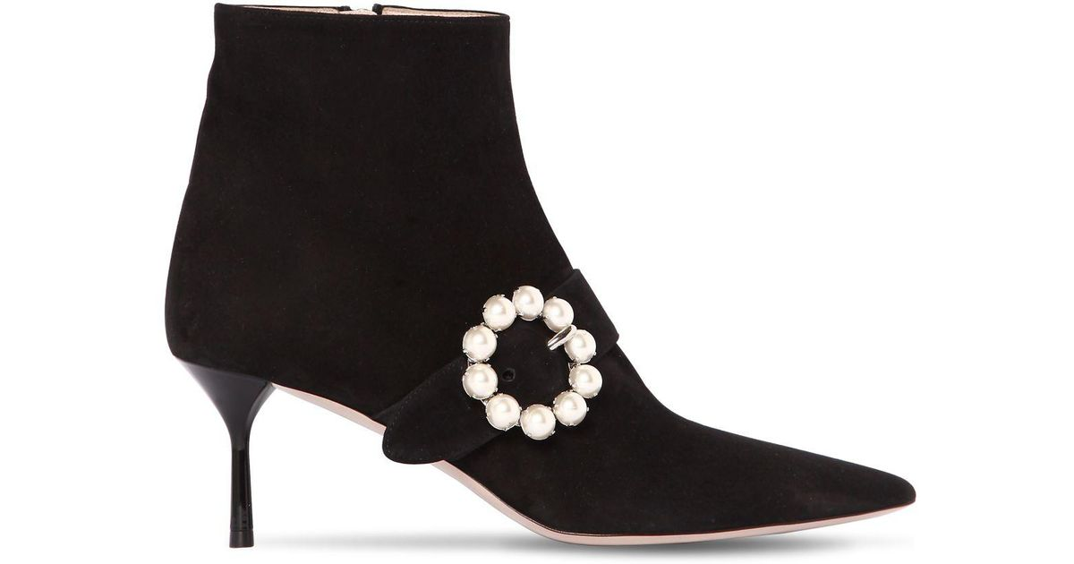 Miu Miu 65MM EMBELLISHED BUCKLE SUEDE ANKLE BOOT coQNy96
