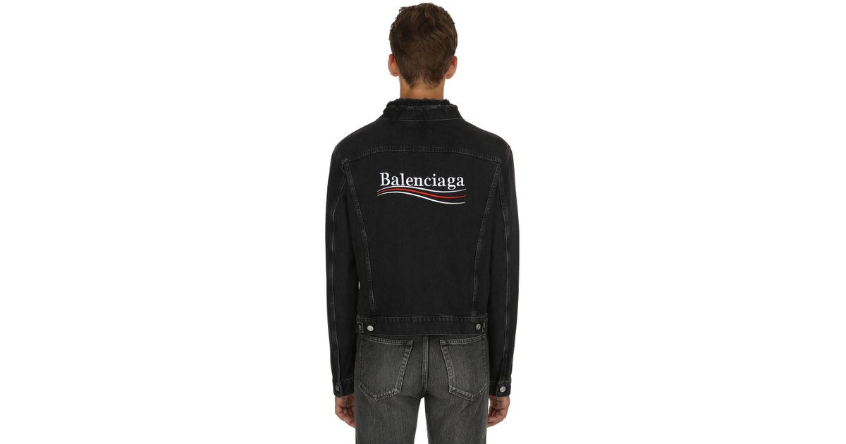 Lyst In Black Jacket Distressed Men Political For Balenciaga Logo Denim vnvFpqT