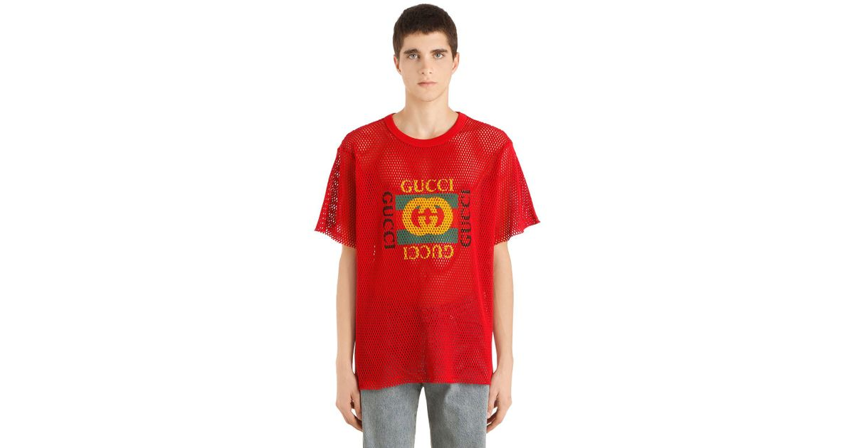 b7410216e Gucci Logo Printed Cotton Mesh Jersey T-shirt in Red for Men - Lyst