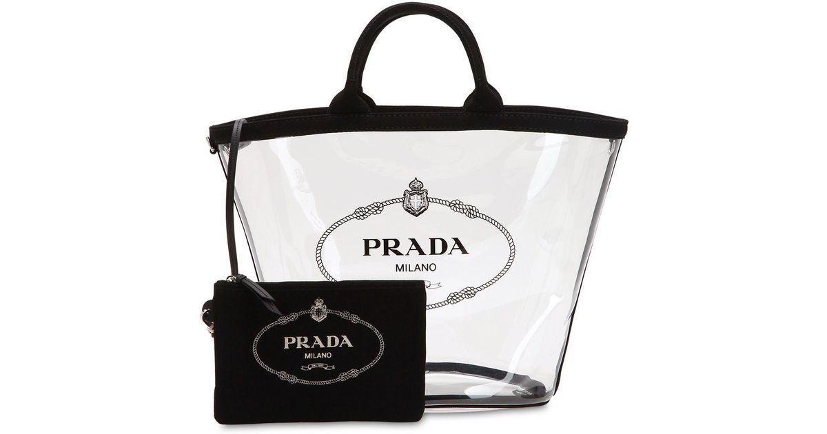 73b4a44b4464 ... wholesale prada logo print pvc tote bag w canvas pouch in black lyst  f8d02 b32cc