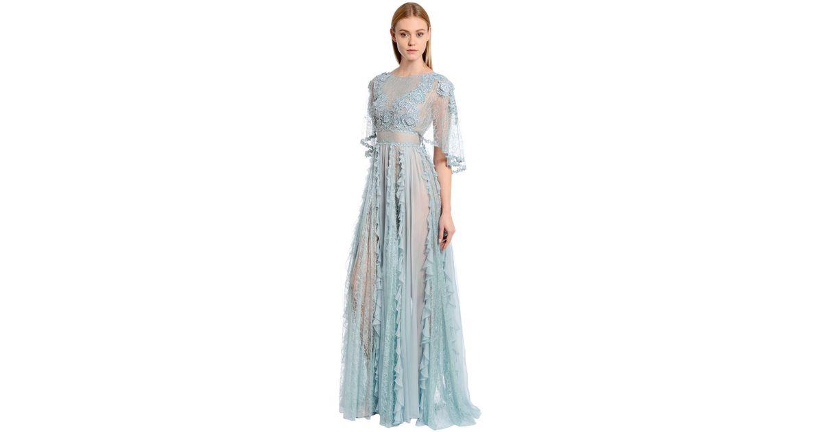 Lyst - Zuhair Murad Ruffled Chiffon & Macramé Lace Gown in Blue