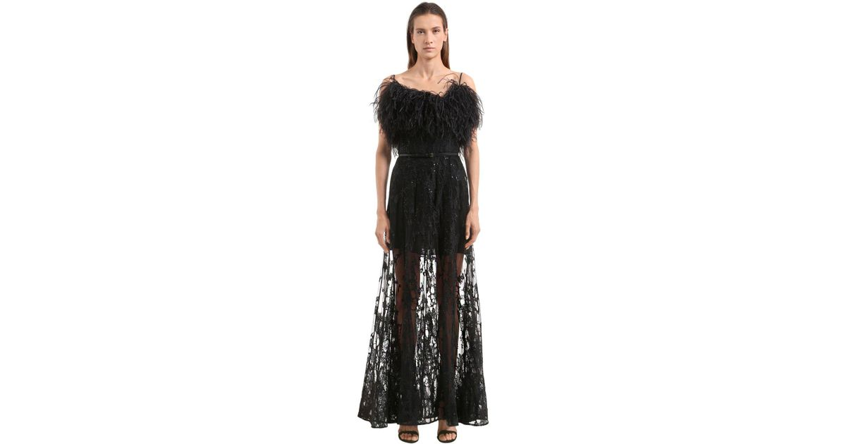 67969a1d507 Lyst - Robe En Tulle Brodé Avec Plumes Elie Saab en coloris Noir