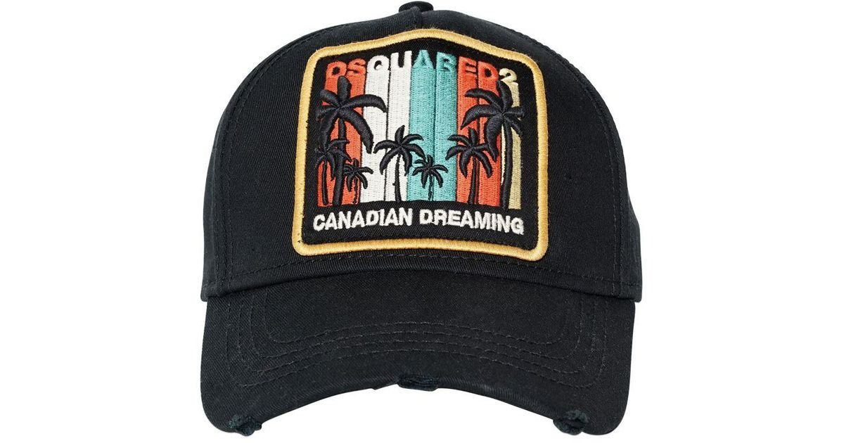5f93cc0db95 DSquared² Canadian Dreaming Patch Canvas Hat in Black for Men - Lyst