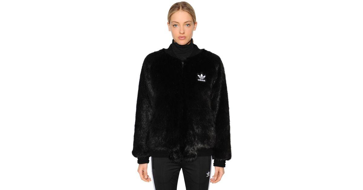 46125e1b0 adidas Originals Sst Faux Fur Bomber Jacket in Black - Lyst