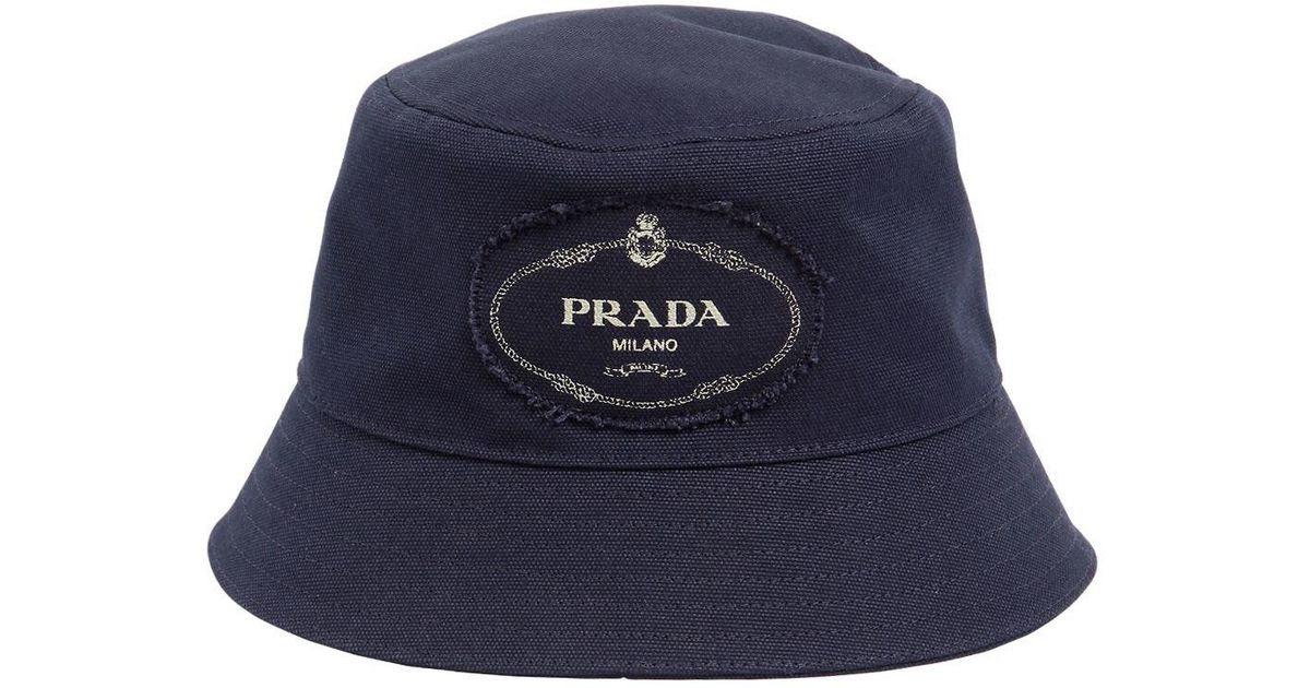 189656ced5aeb Prada Logo Print Cotton Canvas Bucket Hat in Blue for Men - Save 6% - Lyst