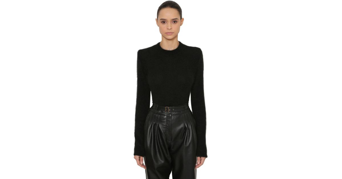 b580c57c60ee Lyst - Alberta Ferretti Brushed Angora Blend Knit Sweater in Black