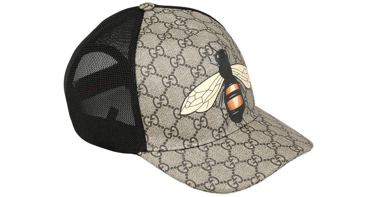 7c958da8b Gucci Bee Coated Gg Canvas & Mesh Baseball Hat in Black for Men - Lyst