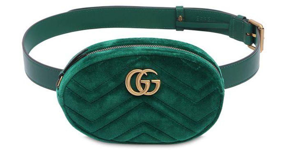 cdc12144c195 Gucci Gg Marmont 2.0 Velvet Belt Pack in Green - Lyst