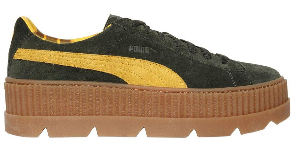 e4c8461e5be Lyst - PUMA 40mm Cleated Creeper Suede Sneakers in Green