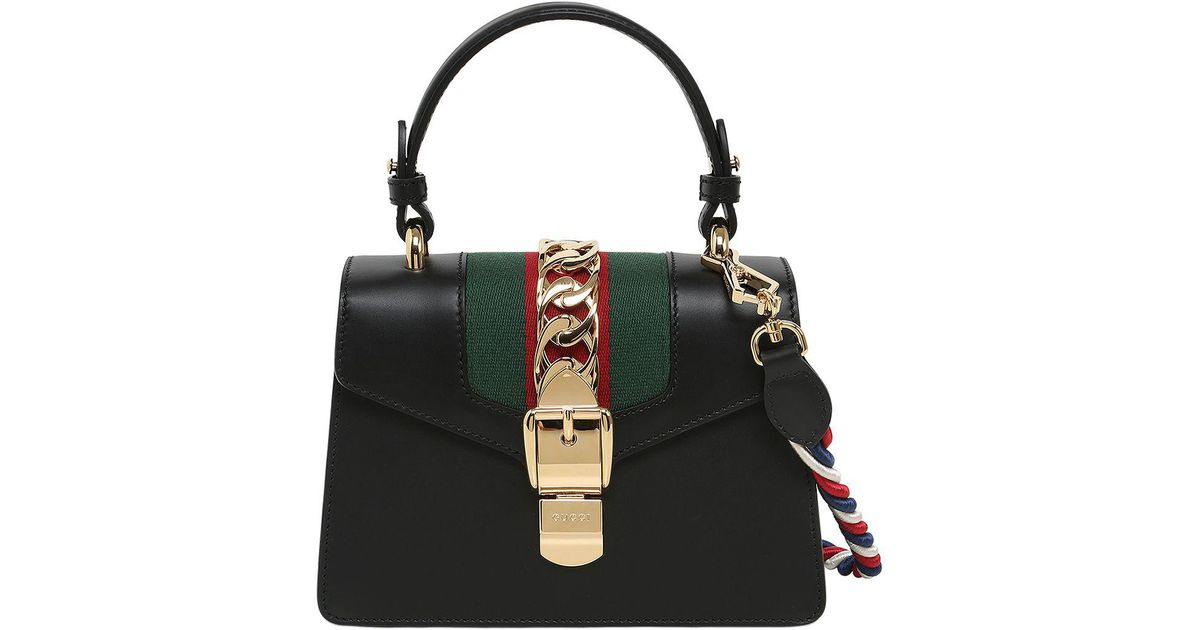 4904f15b079e Gucci Mini Sylvie Leather Shoulder Bag in Black - Lyst