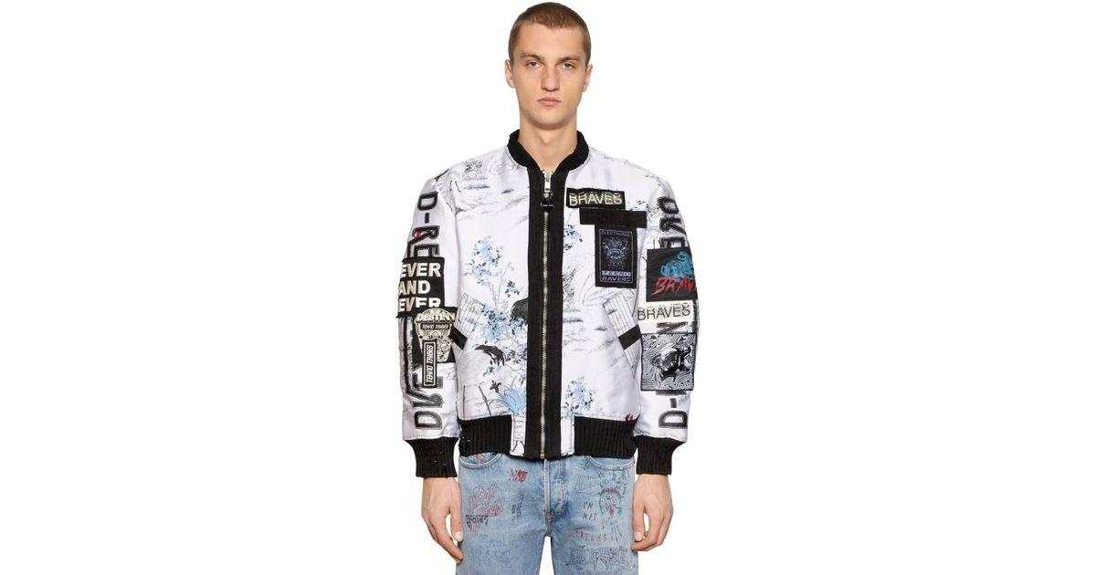 5c1100d75e22 DIESEL Zip-up Graffiti Jacquard Bomber Jacket in White for Men - Lyst