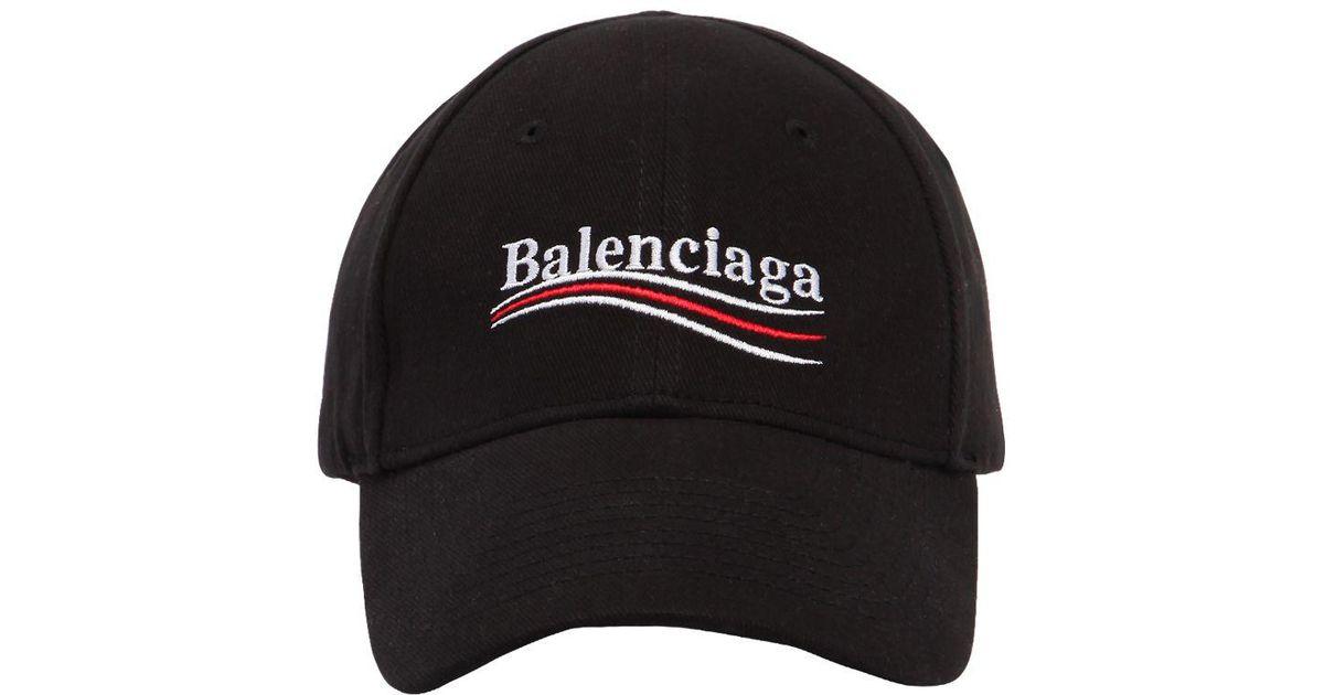 723514c1139 Lyst - Balenciaga New Political Logo Cotton Hat in Black for Men