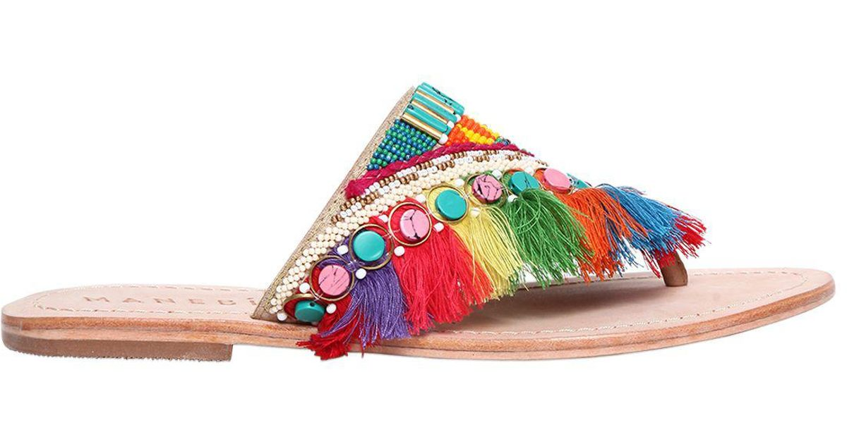 Discount Looking For Clearance Official Site MANEBI 10MM FRINGED RAINBOW LEATHER SANDALS Free Shipping Deals Best Price IXKeg9a6g