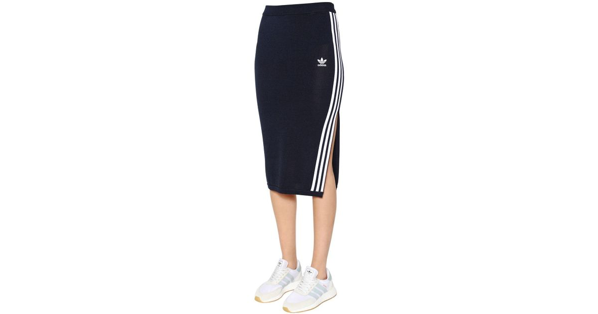 best sneakers 404cc 3c671 adidas Originals 3 Stripes Knit Midi Skirt in Blue - Lyst