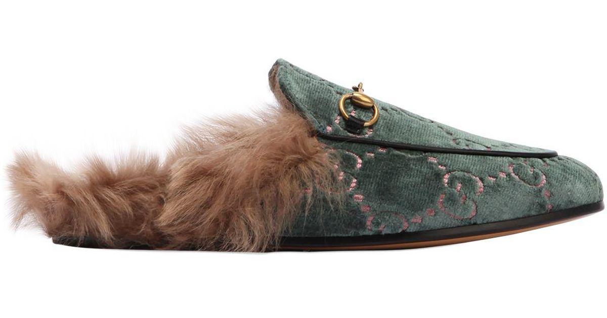 Lyst - Gucci 10mm Princetown Gg Velvet   Fur Mules 75e442a6cfff
