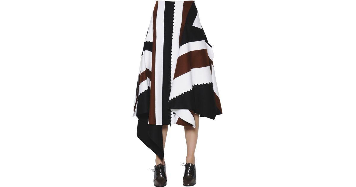 4b2487065 Sportmax Asymmetric Patchwork Felted Wool Skirt - Lyst