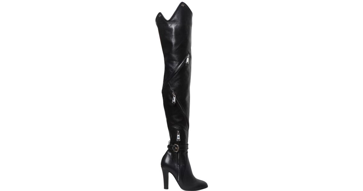 8ccbcf9c4cb Lyst - Moschino 100mm Zips Leather Over The Knee Boots in Black