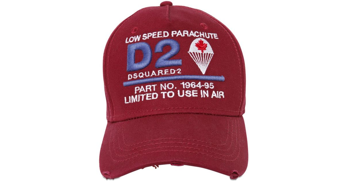 DSquared² D2 Parachute Patches Canvas Baseball Hat in Red for Men - Lyst 4510021c948