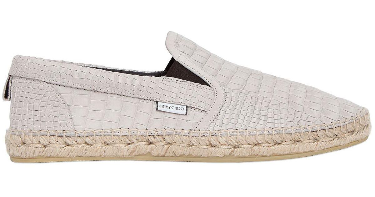 3a1eac324eb Lyst - Jimmy Choo Vlad Croc Embossed Leather Loafers in Natural for Men