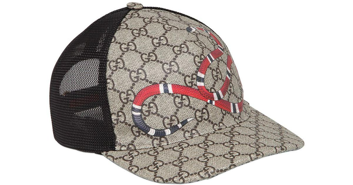 27abe676315 Gucci Snake Coated Gg Canvas Baseball Hat in Natural for Men - Lyst