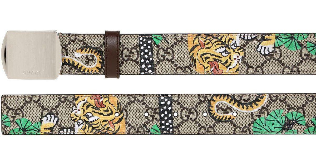 24b52676609 Lyst - Gucci 35mm Bengal Printed Gg Supreme Belt in Natural
