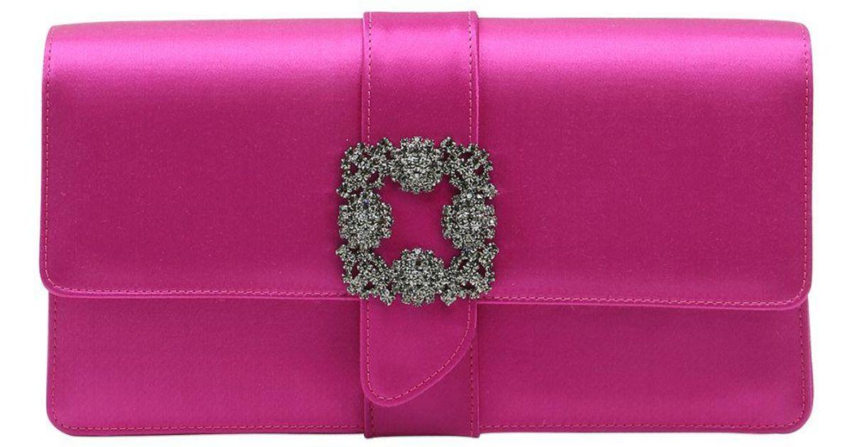 Manolo Blahnik Capri Swarovski Silk Satin Clutch in Purple ...