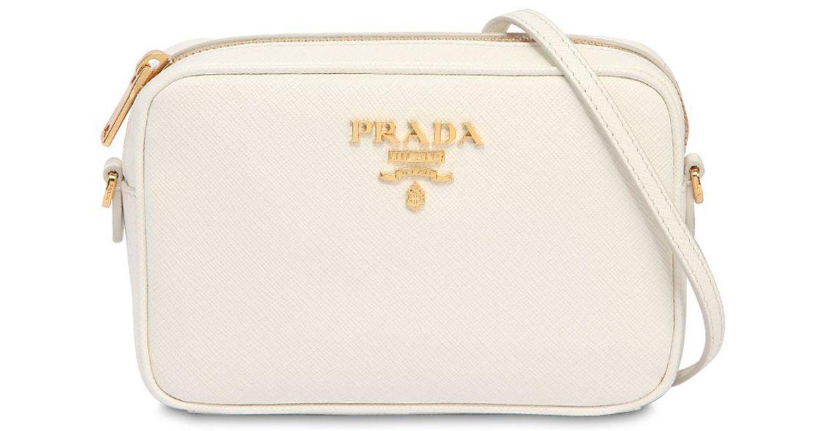 f6345ca0b245 ... new zealand lyst prada saffiano leather camera bag in white 11ae2 d31ed
