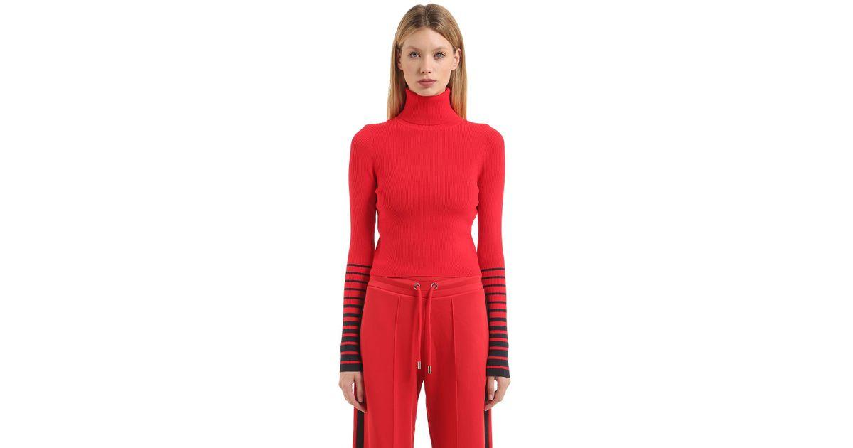 515ae70b Tommy Hilfiger Striped Sleeves Crop Sweater Gigi Hadid in Red - Lyst