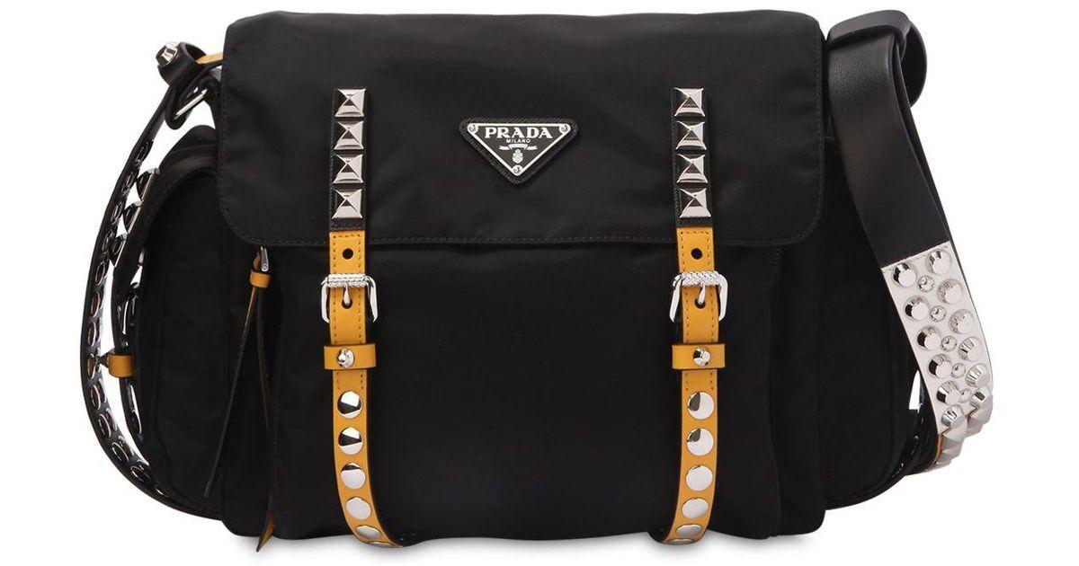 1c8c19640b7 Prada Studded Nylon Messenger Bag in Black - Lyst