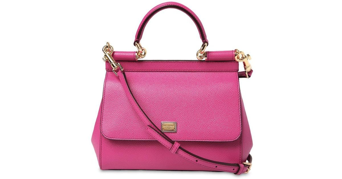 Dolce   Gabbana Small Sicily Dauphine Leather Bag in Pink - Lyst e431277e89