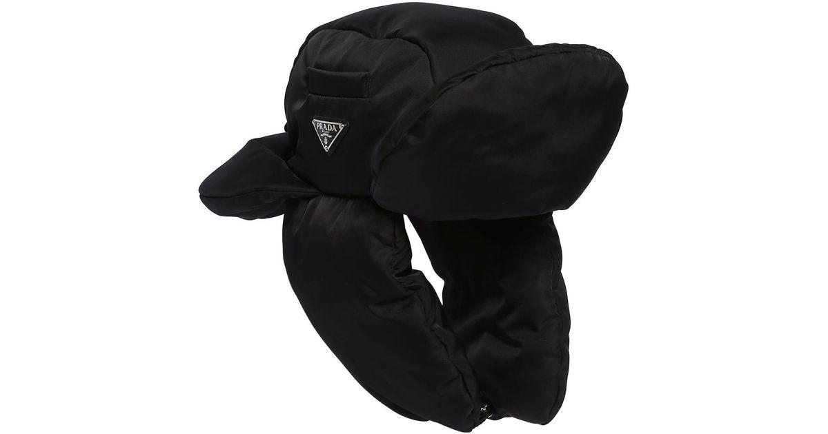 eaf426d6 Prada Padded Nylon Trapper Hat in Black for Men - Lyst
